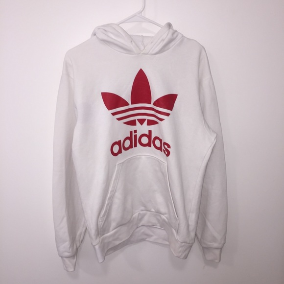 Adidas Hoodie White and Red